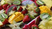 pic of fruit platter  - A tropical fruit platter including fruits imported from Thailand - JPG