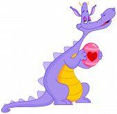 picture of dinosaur-eggs  - Vector illustration of an in love dragon holding Easter egg - JPG