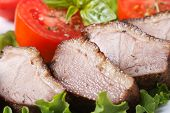 stock photo of roast duck  - slices of roasted duck meat fillet with vegetables close - JPG