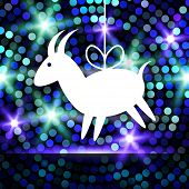 image of applique  - Goat Paper Applique on Glowing Bright Blue  - JPG
