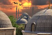 stock photo of constantinople  - Blue Mosque from the window of the basilica - JPG