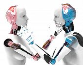 pic of robotics  - two robots that look and holding hands - JPG