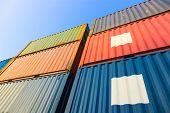 stock photo of dock  - Stack of Cargo Containers at the docks - JPG