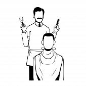 stock photo of barber razor  - A barber getting ready to cut a mans hair - JPG