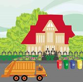 picture of segregation  - orange truck and segregation of garbage - JPG