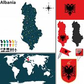 pic of albania  - Vector map of Albania with regions coat of arms and location on world map - JPG
