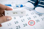 image of pregnancy test  - Positive pregnancy test on calendar with date of birth - JPG