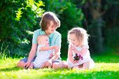 image of three sisters  - Three happy kids brothers and sister laughing teenager boy little baby and a funny curly girl playing together with flowers in a sunny garden of their backyard on a warm sunny day - JPG