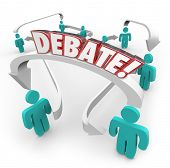 stock photo of debate  - Debate word in red 3d letters on arrows connecting people discussing disagreements and exchanging or sharing ideas - JPG