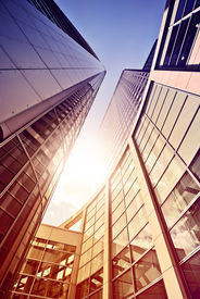 picture of frankfurt am main  - modern glass and steel office complex in the sun - JPG