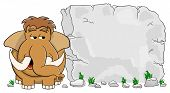 pic of mammoth  - vector illustration of a mammoth in front of stone tablet with copy space - JPG