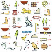 image of hieroglyph  - Vector illustration for ancient Egypt hieroglyphs alphabet set - JPG