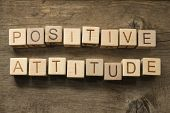 stock photo of feeling better  - Positive Attitude wooden cubes on a wooden background - JPG