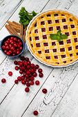 pic of cherry pie  - Homemade cherry pie on wooden table - JPG