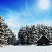 stock photo of cabana  - cabana on bank of frozen lake followed by winter forest