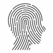 stock photo of fingerprint  - Symbol fingerprint head art creative - JPG