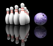 stock photo of bowling ball  - 3D render of bowling ball and skittles - JPG