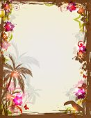 picture of toucan  - Vector bright tropical frame with palms and toucan - JPG
