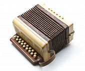 image of accordion  - Small accordion isolated on white background music - JPG