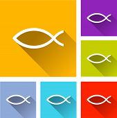 picture of jesus  - illustration of flat design set icons for jesus fish - JPG