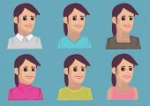 stock photo of dimples  - Set of six bust portraits of cartoon women with dimples wearing colorful blouses in three quarter view - JPG