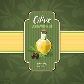 foto of olive branch  - Olive oil badge with glass bottle and branches on background vector illustration - JPG