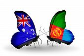 pic of eritrea  - Two butterflies with flags on wings as symbol of relations Australia and Eritrea - JPG