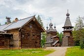 foto of ascension  - Old wooden Ascension Church belfry and house in the reserve Malye Korely - JPG