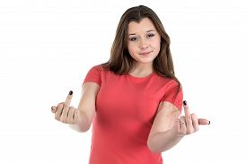 stock photo of indecent  - Photo of teenage girl with middle fingers extended  on white background - JPG