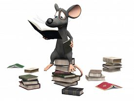 picture of piles  - A cute smiling cartoon mouse sitting on a pile of books and reading - JPG