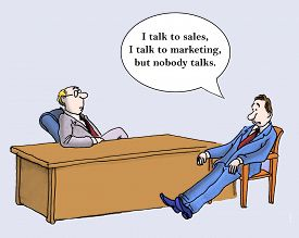 picture of not talking  - Cartoon of two businessmen talking - JPG