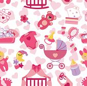 Постер, плакат: Newborn Baby girl seamless pattern