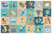 Постер, плакат: Newborn Baby boy icons set Baby shower Puzzle