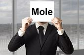 pic of mole  - businessman in office hiding face behind sign mole - JPG