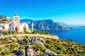 picture of greek  - Amazing sea bay on Greek Island with Greek white church - JPG