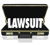 stock photo of jury  - Lawsuit 3d word in a black leather briefcase to illustrate a legal court case before a judge or jury argued by a lawyer or attorney - JPG