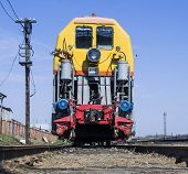 stock photo of chug  - Single train on a siding at the station - JPG