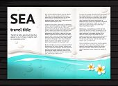 image of plumeria flower  - Vector travel brochure design with blue sea sand stones white frangipani flower; modern  presentation template for travel tourism business; illustration on black wood background - JPG