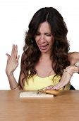 stock photo of mouse trap  - Beautiful woman using the mouse trap diet plan - JPG