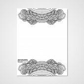stock photo of letterhead  - Graphic design letterhead with hand drawn ornament in bright colors - JPG