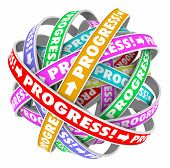 stock photo of proceed  - Progress word on a cycle of spirals to illustrate continuous improvement and forward momentum or innovation - JPG