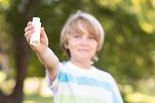 picture of inhalant  - Little boy using his inhaler on a sunny day - JPG