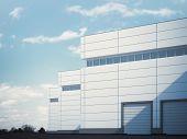 foto of roller shutter door  - Industrial building with roller shutter doors - JPG