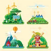 image of farm-house  - Vector flat illustration  - JPG