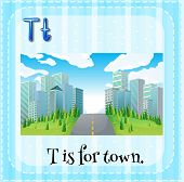 image of letter t  - Flashcard letter T is for town - JPG