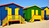 foto of beach hut  - Landscape with colorful changing huts on a beach in Muizenberg - JPG
