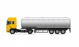 pic of tank truck  - Yellow Fuel Tanker Truck isolated on white background - JPG