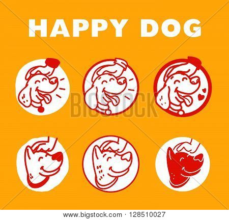 poster of Vector flat hand drawn happy dog portrait. Dog logo isolated on yellow background. Dog icon. Dog store, dog barberry, dog shop, dog clinic, dog center, dog food. Dog illustration. Animal accessories.