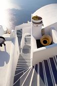 image of greek-island  - l shape staircase in the island of santorini in greece - JPG