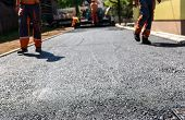 ������, ������: Team Of Workers Making And Constructing Asphalt Road Construction